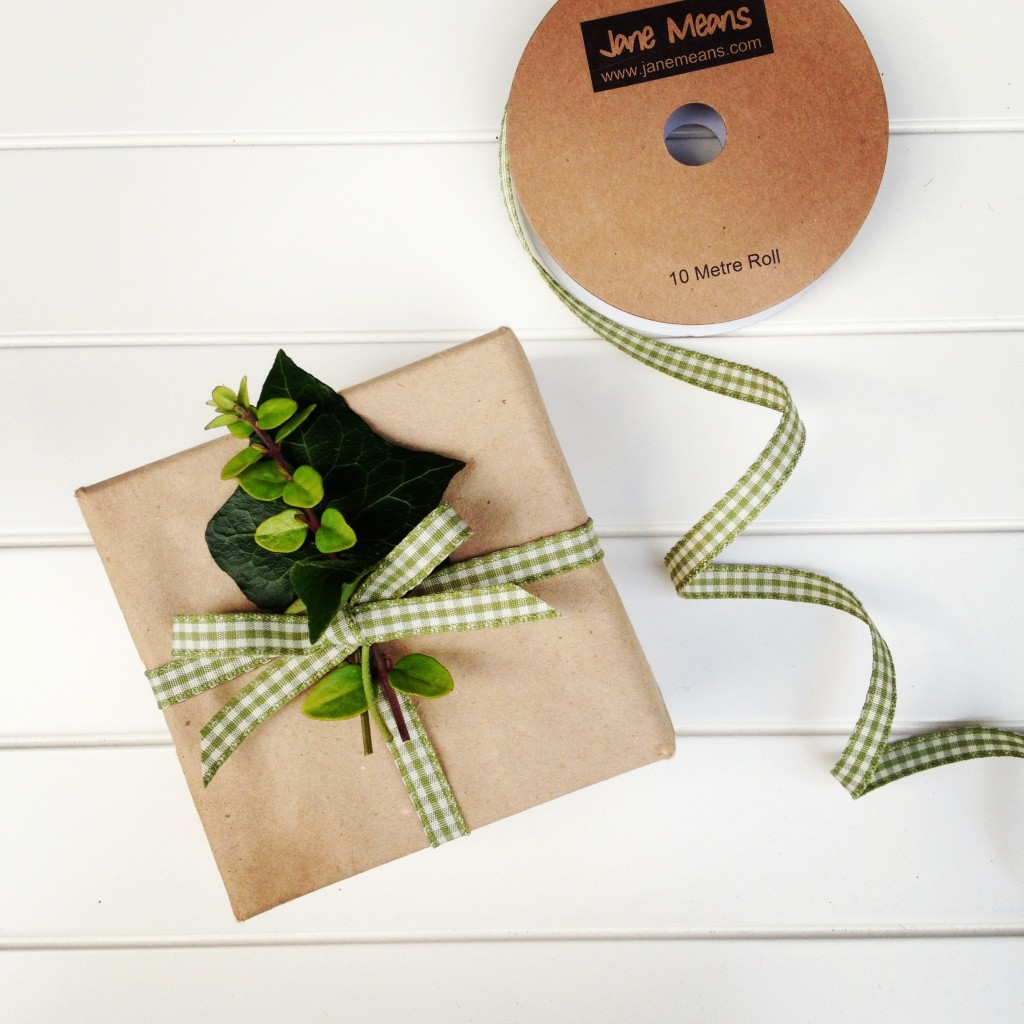 Narrow green gingham ribbon