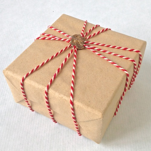 brown paper parcel and bakers twine