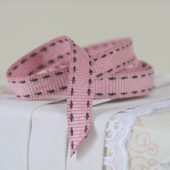 pink stitched ribbon curl