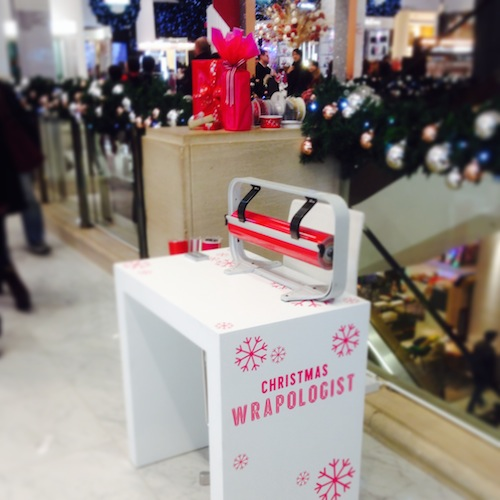 Jane Means gift wrapping at Selfridges