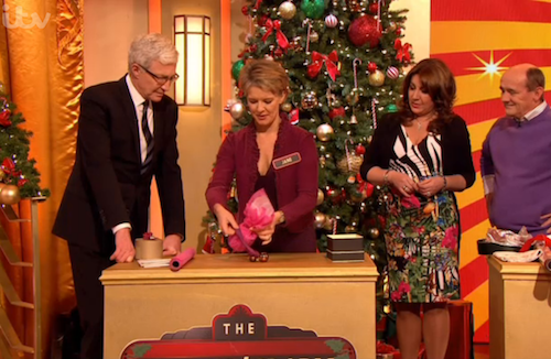Jane Means gift wrapping with Paul O'Grady