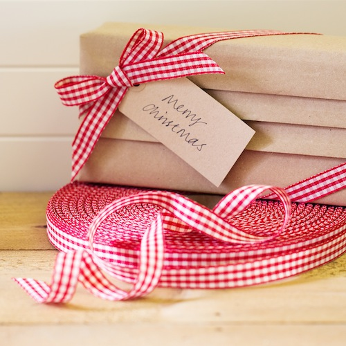 Red cotton gingham ribbon