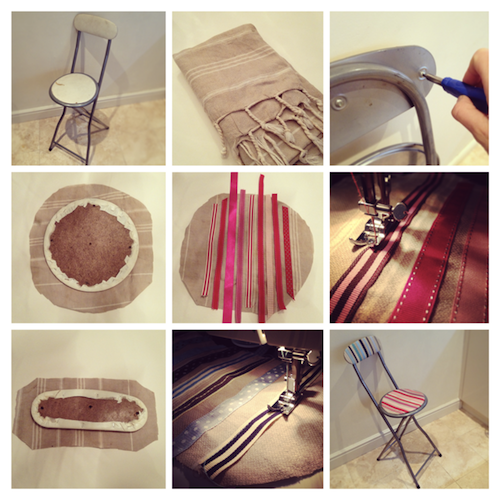 DIY ribbon stool