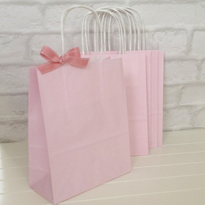 pink paper carrier bags