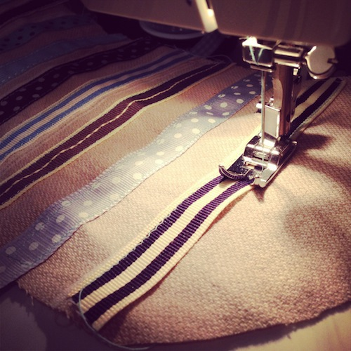 ribbon blue sewing