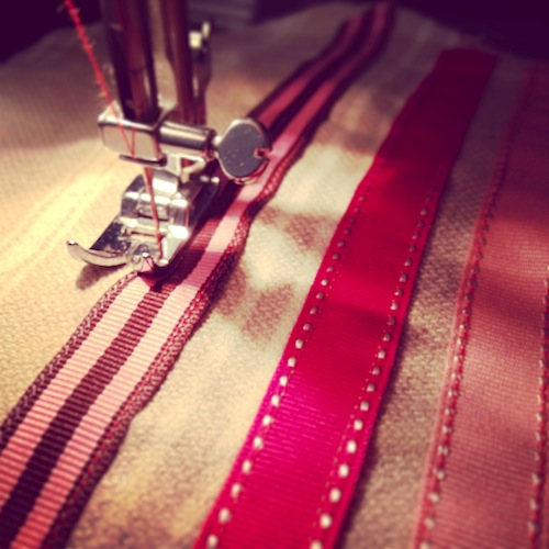 ribbon red sewing
