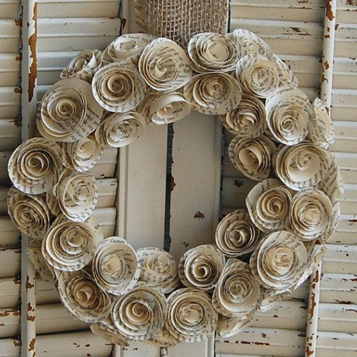 script paper flower wreath