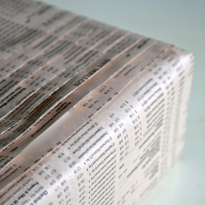 wrapping with newspaper