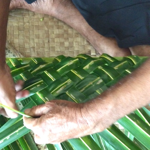 weaving a fresh basket