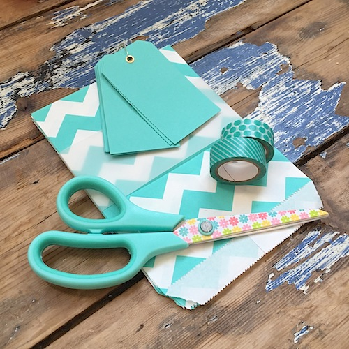 Turquoise paper chevron bags