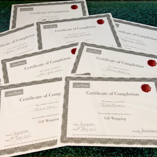 gift wrapping training certificates