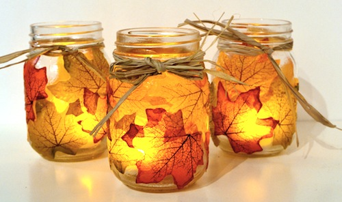 Fall Mason Jars With Raffia