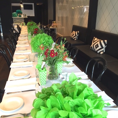 Table decoration lime green