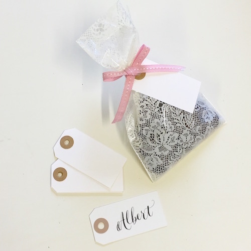 Lace wedding favour bags