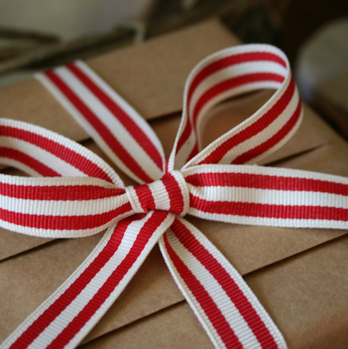 Jane Means striped red ribbon